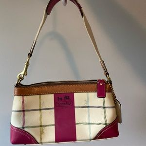 Coach signature beige and pink plaid